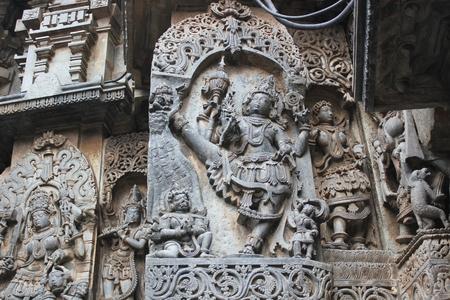 Hoysaleswara Temple wall carved with incarnation of lord Vishnu (ulagalantha perumal)