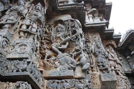 Hoysaleswara Temple wall carving of Gajasurasamhara  moorthy - lord shiva