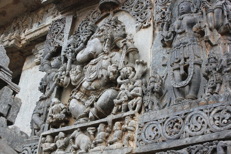 Hoysaleswara Temple wall carving of Ganpati with right curvature of trunk Stok Fotoğraf