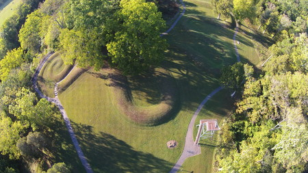 Aerial View of the coiled tail part of Serpent Mound
