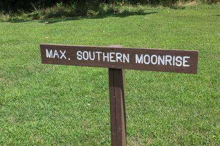 Southern Moonrise Signboard at Serpent mound Stock Photo