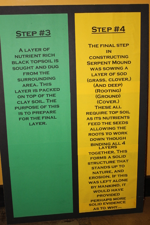 Information board explaining the layers of stone-reinforced clay surface at the Serpent mound Museum Stock Photo