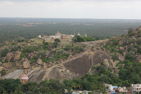 View of Chandragiri from the top of Vindhyagiri, Shravanabelagola Stock Photo
