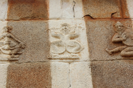 carving of musicians and dancer on the wall of Gomateshwara temple, Vindhyagiri, Shravanbelgola