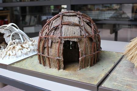 フォート古代博物館で表示されるホープウェル インド家のミニチュア 写真素材