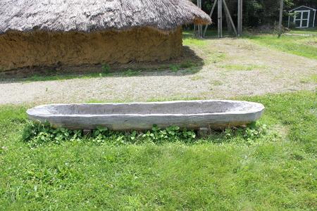 フォート古代博物館公園外側のディスプレイでモジュラー カヌー 写真素材