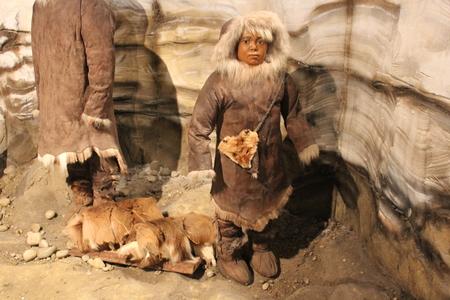 Een tentoonstelling van Ice Age Ohio Valley in Fort Ancient Museum