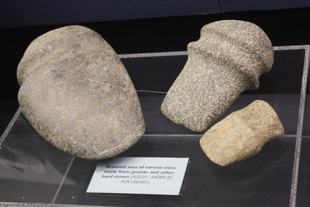 Various sizes of granite & hard stone grooved axes displayed at Fort Ancient Museum