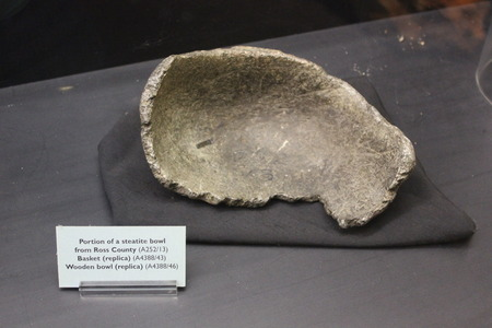Sample of Steatite Bowl used by Ohio valley culture at Fort Ancient Museum Editorial