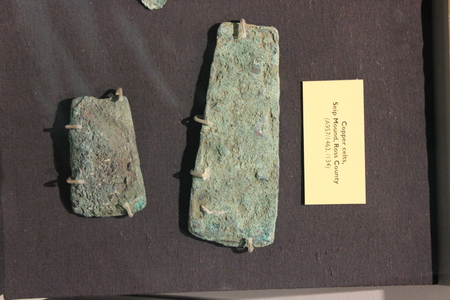 Copper Celts found at Serpent Mound Excavation displayed at Fort Ancient Museum