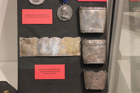 Peace Medals and Royal coat of arm - artifacts at Fort Ancient Museum
