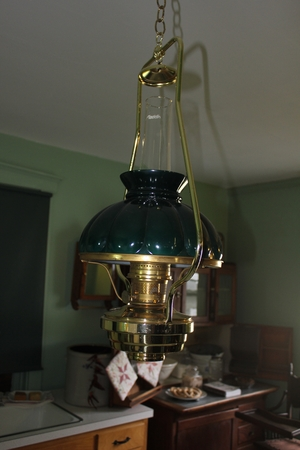 Chandelier with Light Shades inside Amish House