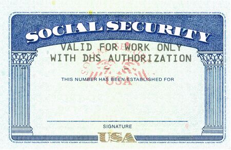 social security card ssn blank original with text DHS authorization Stock fotó