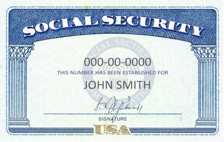 American Social Security Card generic filled SSN