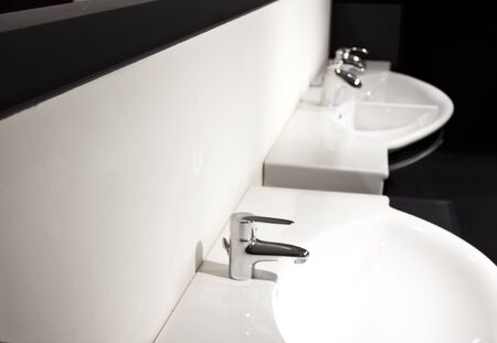 double sink: sink with faucet in the bathroom