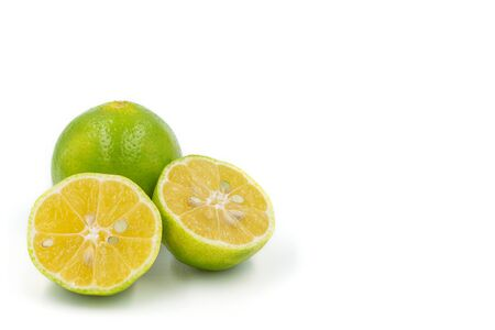 Sliced Thai lime isolated on white background