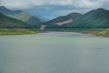 The beautiful lake of Mae Guang dam in Chiang Mai, Thailand during the rainy season Stock fotó