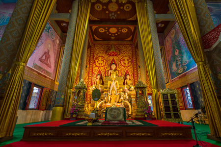 The interior view of the main temple of Wat Phra Thart Doisaket in Chiang Mai, Thailand. Editorial