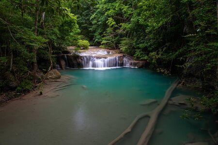 Beautiful natural scenic of Erawan waterfall with emerald green pond in Kanchanaburi, Thailand 스톡 콘텐츠