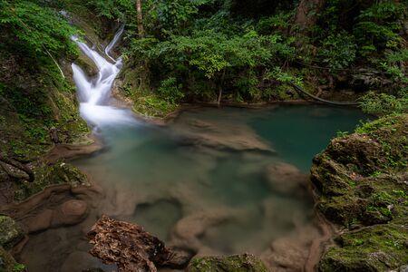 Beautiful natural scenic of Erawan waterfall in Kanchanaburi, Thailand
