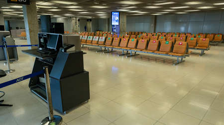 Suvarnabhumi Airport, Bangkok, Thailand - April 4, 2020 : Empty departure gate due to Coronavirus or COVID-19 epidemic