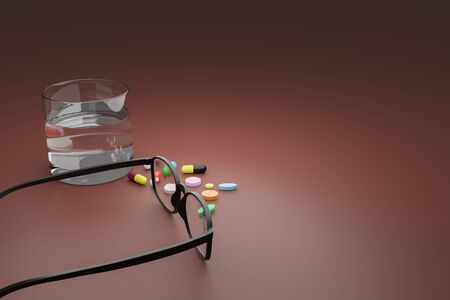 3D illustration of Glasses, pills and a glass of water on brown tabletop