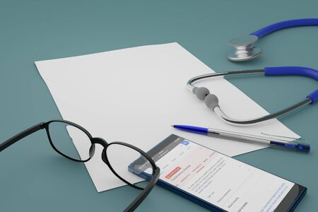 3D illustration of paper, glasses, mobile, pen and  stethoscope on pale blue tabletop