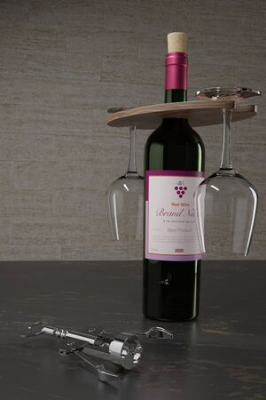 3D illustration of wine glasses and bottle holder with cork opener