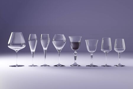 3D illustration of wine glasses in difference shape and size