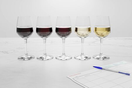 3D illustration of wine tasting contest Stock Photo