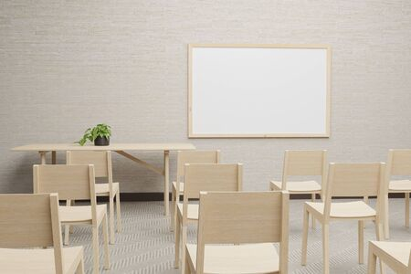 3D illustration of empty training room with blank whiteboard