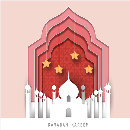Celebrate Ramadan and Eid concept.Greeting card with arabic White Origami.Vector and  illustration.Paper and craft art