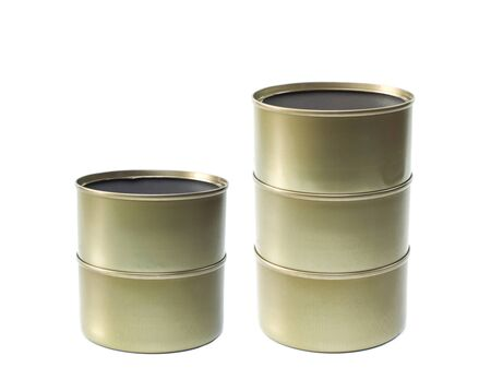 tinned goods: tin can on a white background.