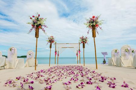 해변에서 꽃 설정