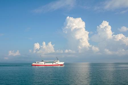 ferry ship in the sea  blurred for background
