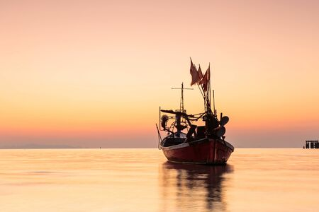 Long exposure technique of long tail boat at twilight time, Samui island Thailand Stok Fotoğraf