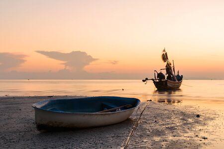 Long exposure technique of boat at twilight time, Samui island Thailand