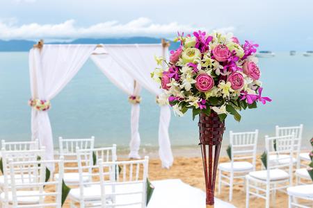 wedding setting on the beach for wedding ceremony