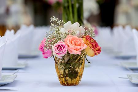 Flower setting on Dinner table party Stok Fotoğraf