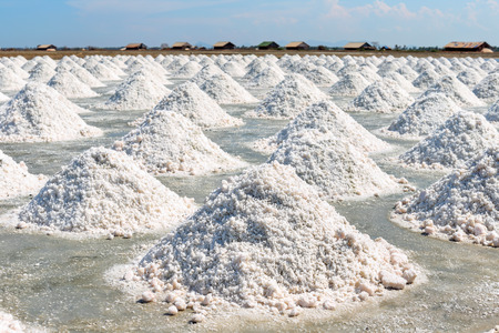 Salt piles in the saline from Thailand. Stok Fotoğraf