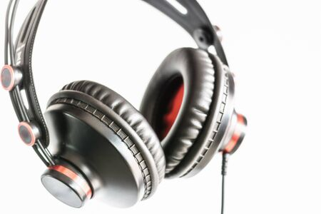High-quality headphones on a white background. Headphone product photo Stock Photo