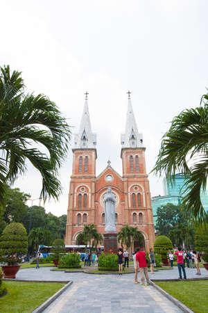 Save Download Preview Ho Chi Minh city, Vietnam 01,2019: Notre Dame Cathedral or Nha Tho Duc Ba. Stock photo of Notre-Dame Cathedral Basilica of Saigon officially Cathedral Basilica of Our Lady of T