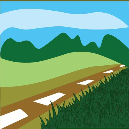grass area: grass road and sky it is nature area. Illustration
