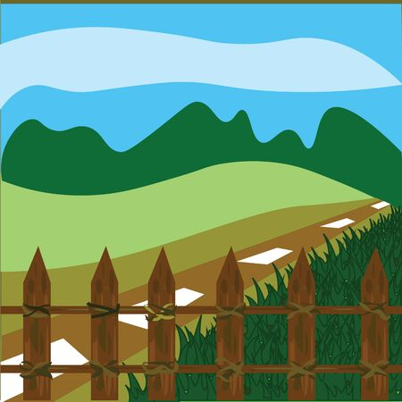wooden fence: wooden fence with lawn and nature area with blue sky.