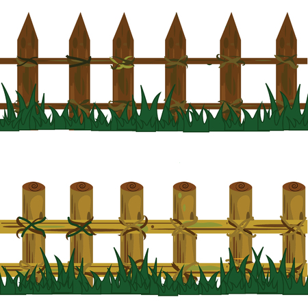 wooden fence: two wooden fence on clump of grass with green and brown color. Illustration