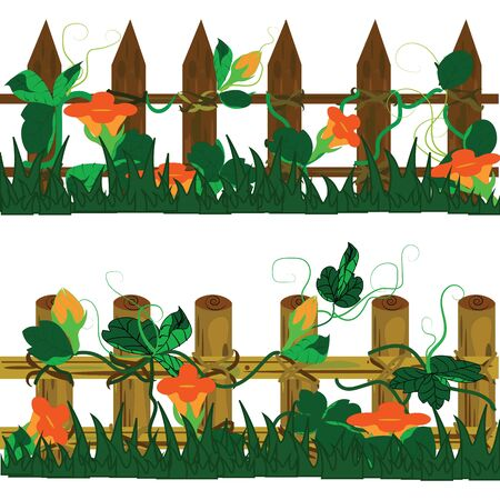wooden fence: wooden fence with flower have brown orange and green color.