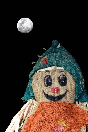 A scarecrow on a moonlit night. Stock Photo