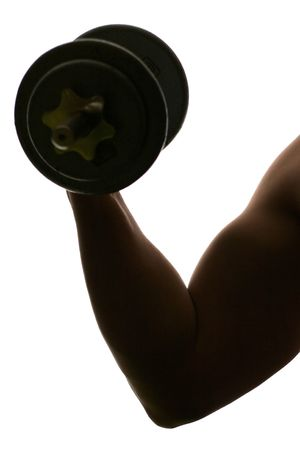 arm: A sihouette of an arm curling a dumbbell.