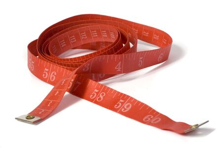 A red tape measure against a white background.