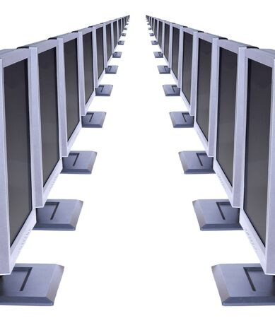 Two rows of monitors facing each other isolated on white.